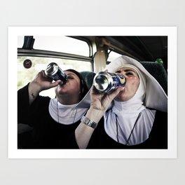 Nun Chugs Art Print