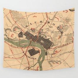 Vintage Richmond VA Rebel Defense Map (1864) Wall Tapestry