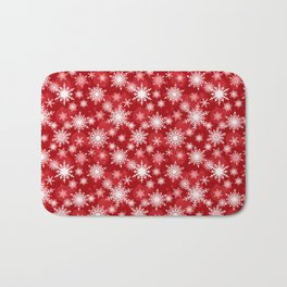 Christmas pattern. Lacy snowflakes on a red background. Bath Mat