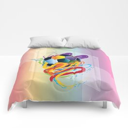 Brush strokes and soccer ball Comforters