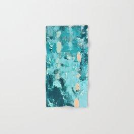 020: a vibrant abstract design in teal and peach by Alyssa Hamilton Art  Hand & Bath Towel