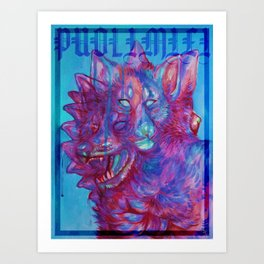 PUOLIMIELI Sininen Art Print