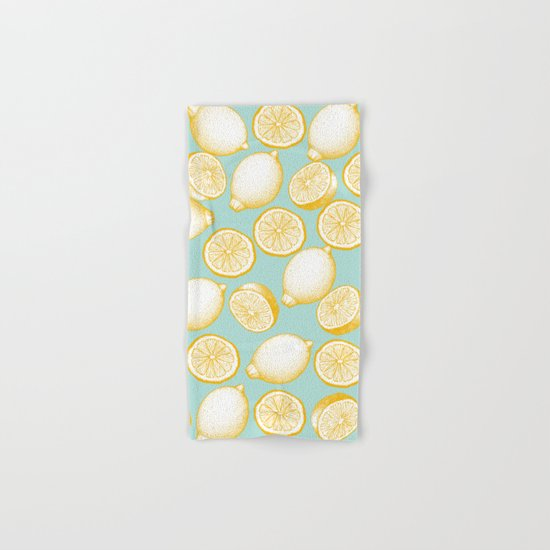 Lemons On Turquoise Background Hand & Bath Towel