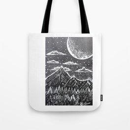 """Supermoon"" Hand-Drawn by Dark Mountain Arts Tote Bag"