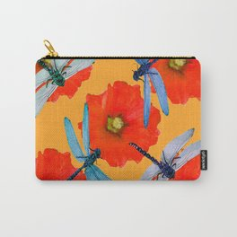 CLUSTER OF BLUE DRAGONFLIES RED HOLLYHOCK FLOWERS Carry-All Pouch