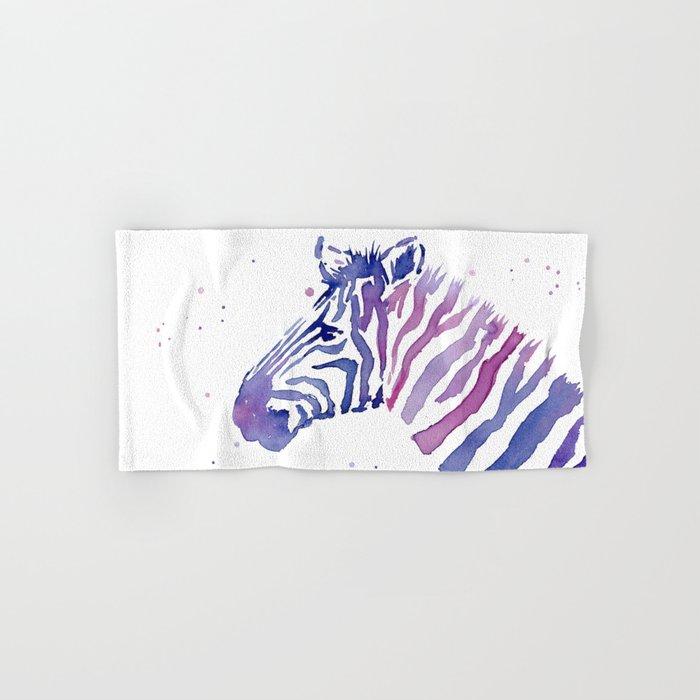 Zebra Watercolor Purple Stripes Animal Hand & Bath Towel