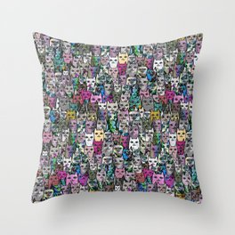 Gemstone Cats CYMK Throw Pillow