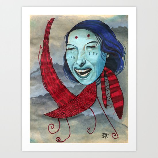 Crying Red Dragon Art Print