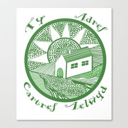 Welsh house of lines green Canvas Print