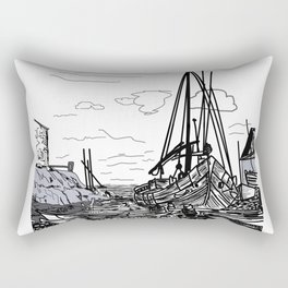 Boats on the Sea . Home Decor Graphicdesign Rectangular Pillow