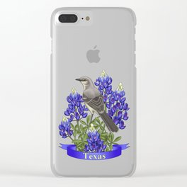 Texas State Mockingbird and Bluebonnet Flower Clear iPhone Case