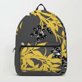 TREE BRANCHES YELLOW GRAY  AND BLACK LEAVES AND BERRIES Backpack