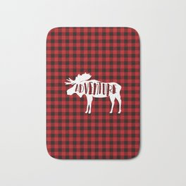 Red Buffalo Plaid Moose ADVENTURE typography Bath Mat