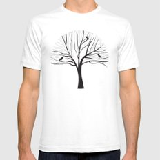 bird tree White SMALL Mens Fitted Tee