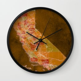 California Los Angeles old vintage map. Orange vintage poster for office decoration Wall Clock