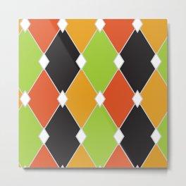 Orange, green and black jester diamonds Metal Print