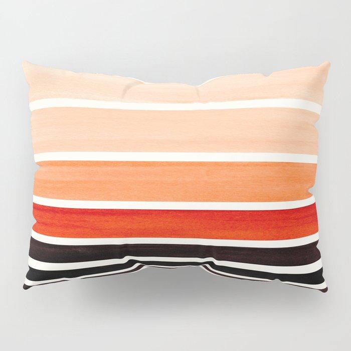 Brown Minimalist Watercolor Mid Century Staggered Stripes Rothko Color Block Geometric Art Pillow Sham