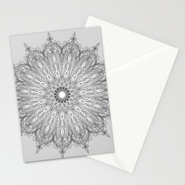 Gray Swirl Mandala light gray Stationery Cards