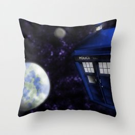 Police Box in Space Throw Pillow