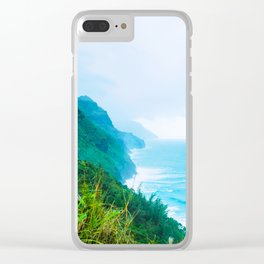 green mountain and ocean view at Kauai, Hawaii, USA Clear iPhone Case