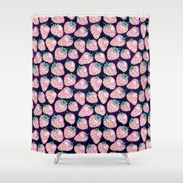 Pink Strawberry pattern on purple background Shower Curtain