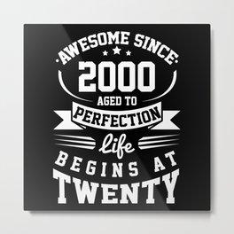 20th Birthday 2000 20th Birthday Gift 20 Years Metal Print