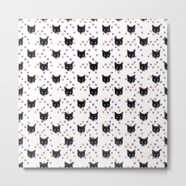 Cute Tuxedo Cat Faces with Pink Cross Bandaids Metal Print