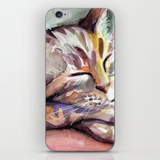 Sleeping Kitten Watercolor Cat Whimsical Cats iPhone & iPod Skin