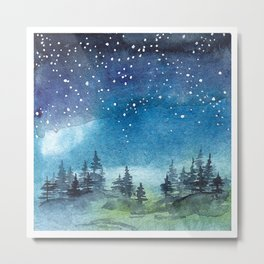 Starry Night over Forest Metal Print
