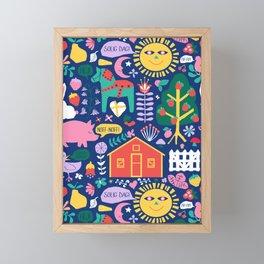Happy Swedish Farm in Navy Framed Mini Art Print