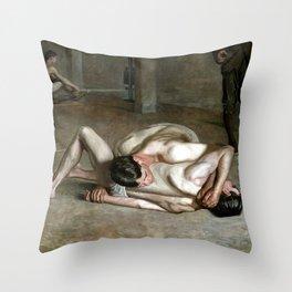 Thomas Eakins Wrestlers Throw Pillow
