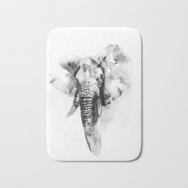 Black n White Painted elephant Bath Mat