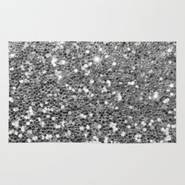 Chic faux silver abstract sequins glitter modern pattern Rug