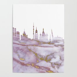 Moscow Skyline Russia Poster