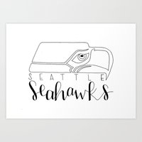 seahawks Art Prints featuring Seahawks by Lalalalany