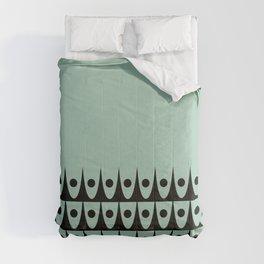 Dotty Bogen Cuff - Midcentury Modern Minimalist Pattern in Black and Mint Green Comforters