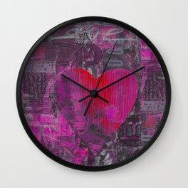 Passion Pink Purple Heart Mixed Media Art Wall Clock