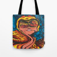 fear and loathing Tote Bags featuring Fear and Loathing  by Katrina Berkenbosch