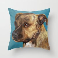 home alone Throw Pillows featuring Home Alone(Original Sold!) by waggytailspetportraits