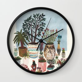 Potted Flowers I Wall Clock