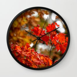VIBRANT RED FALL LEAVES Wall Clock