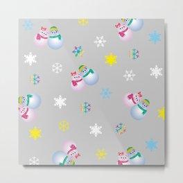 Snowflakes & Pair Snowman_A Metal Print