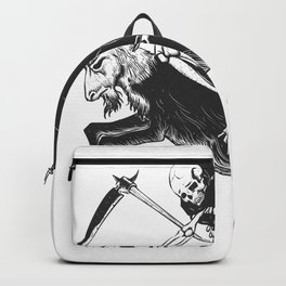 Reaper grim riding a goat - black and white - gothic skull Backpack