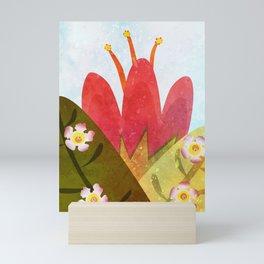 Giant red flower Mini Art Print