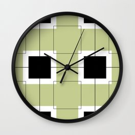White Hairline Squares in Light Sand Wall Clock
