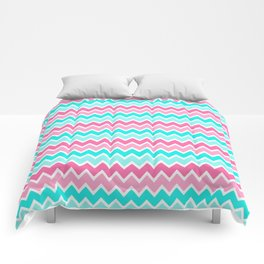 Turquoise Aqua Blue and Hot Pink Ombre Chevron Comforters