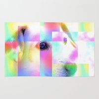 jack russell Area & Throw Rugs featuring Colorful Jack Russell By Annie Zeno  by AZ Creative Visions