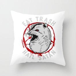 Eat Trash Hail Satan Occult Pentagram Possum design Throw Pillow