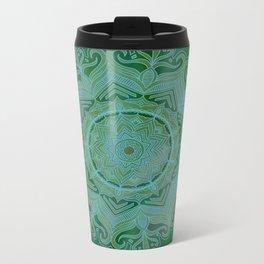 Green Swirl Mandala II Metal Travel Mug
