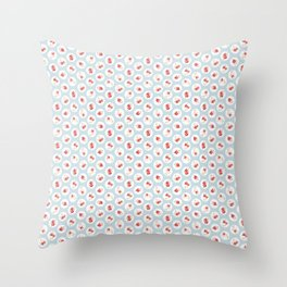 Shabby Chic Florals on Blue Throw Pillow